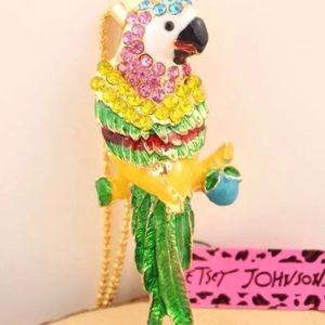 Betsey Johnson Rhinestone Parrot Necklace